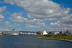 Polarising filter turned up to 11 (Daggormet) Tags: city cloud clouds landscape bay spring nikon cityscape cardiff calm filter cardiffbay waterscape polariser polarisingfilter nikond5200