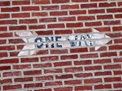 One Way, Bethlehem, PA (Robby Virus) Tags: brick sign wall way one alley pennsylvania painted arrow bethlehem