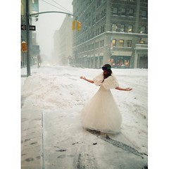 The unperturbed bride  SoHo NYC (Jodie Dobson) Tags: street nyc wedding urban usa snow newyork square bride soho thecity squareformat bridal bigapple nycblizzard iphoneography instagramapp snapseed thecitybigapple
