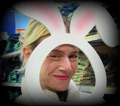 I love Lucy (Renee Rendler-Kaplan) Tags: she woman bunny girl lady female canon pose shopping easter march lucy funny child adult daughter posing indoors inside easterbunny goodsport ilovelucy 2016 reneerendlerkaplan lucyrendlerkaplan canonpowershotsx530hs wellwebothdo proudtobehermother