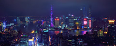 A (Brave) New World (Rebecca Ang (AWAY)) Tags: china lighting city urban night lights twilight cityscape shanghai nopeople aerial bluehour pudong bund orientalpearltower thebluehour puxi lujiazui huangpuriver rebeccaang