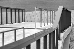 Treppenlinien - Stair Lines (~shrewd~) Tags: city urban bw white black building window monochrome architecture stairs germany deutschland fenster haus rail stadt architektur sw handrail monochrom karlsruhe gebude fkk schwarz treppen gelnder weis handlauf glanda flickrklubkarlsruhe foma17
