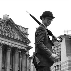 2016-03-05: Mansion House (psyxjaw) Tags: city man london hat umbrella quiet weekend walk empty saturday tie suit bowlerhat worker recreation past reenactment cityoflondon londonist