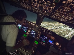Hand-Flying a B-747 7161 (Vision Aerie) Tags: night flying losangeles action aviation working cockpit landing airline lax approach 747 flightdeck approaching b747 alignment finalapproach vocational maneuvering piloting