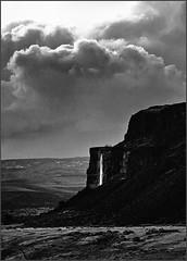 Ancient Lakes waterfall 2 (@GilAegerter / klahini.com) Tags: blackandwhite film clouds waterfall nikon desert hiking nikkor ilfordxp2 ilford manualfocus 135mm nikkormat manuallens ancientlakes 135mmf35ai