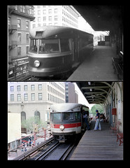Bullet Car at Norristown 1949 and 1989 (jsmatlak) Tags: electric bullet interurban septa norristown brill pw