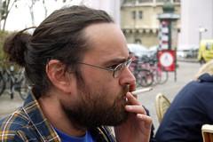 Lucky one  B. A., Saint-Germain-en-Laye, 3 avril 2016 (Stphane Bily) Tags: man beard glasses friend cigarette smoke ami lucky ba lunettes homme saintgermainenlaye yvelines stphanebily