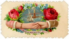 Long May Peace Attend Thee! (Alan Mays) Tags: old flowers blue red roses brown men green leaves vintage paper boats cards liberty hands women peace antique ships 19thcentury victorian statues illustrations ephemera mercer bracelets statueofliberty names scraps banners printed cuffs borders sailingships handshakes edges ladyliberty sleeves nineteenthcentury scalloped scrolls myosotis shakinghands forgetmenots callingcards namecards diecuts visitingcards hiddenname concealedname edwardmmercer