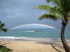 Double Rainbow over Napili Bay (nosillacast) Tags: ocean rainbow maui palmtrees doublerainbow napili