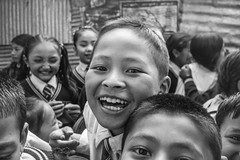 (milan syangbo) Tags: school nepal students monochrome kids happy blackwhite smiles streetphotography streetphoto nepalese blackdiamond olympusomdem10