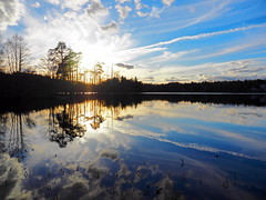 Reflecting Lake (Jens Haggren) Tags: trees sunset sky sun lake nature water clouds reflections landscape mirror sweden olympus em1 nacka