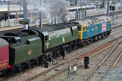 """34067 """"Tangmere"""" with 47580 at Southall, 14th. April 2016. (Crewcastrian) Tags: transport trains railways southall steamlocomotive tangmere 34067 battleofbritainclass class47 bulleidpacific countyofessex 47580"""