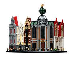 New Century Corner (Pate-keetongu) Tags: city architecture town lego modular 1900 moc modularhouse modularbuilding