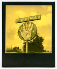 palm reader. fowler, ca. 2016. (eyetwist) Tags: california man records color film monochrome sign yellow analog vintage project polaroid sx70 typography highway hand ishootfilm palm fortune spots 99 goop fresno 600 future round type third instant modified lettering analogue streaks selma past psychic roadsideamerica generation fowler teller centralvalley impossible crystalball typographic emulsion landcamera ouija polaroidsx70 instantgratification palmreader flaws blackframe polaroidweek ca99 duochrome eyetwist eyetwistkevinballuff impossibleproject thirdmanrecords signgeeks impossibleduochromeyellow