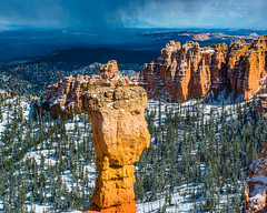Bryce Canyon 26 (MarcCooper_1950) Tags: trees red sky orange snow colors clouds landscape utah nikon scenery rocks vivid canyon cliffs hills southern boulders hoodoo bryce rainfall hdr formations lightroom mounatins brycecanyonnationalpark geologic d810 marccooper