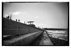 beach_conway_05 (D_M_J) Tags: camera uk sea england blackandwhite bw white seascape black west 120 film beach monochrome landscape mono coast box conway north delta lancashire promenade roll epson 6x9 medium format 100 rodinal ilford cleveleys fylde r09 v850