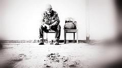 "Billy no mates ! (CJS*64 ""Man with a camera"") Tags: bw monochrome work mono blackwhite sitting chairs panasonic worker sat build tramp vagrant builder twochairs satdown sitdwon fz45 dmcfz45 panasonicfz45"