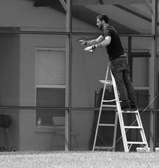 866 of 1096 (Yr 3) - Lanai repair (Hi, I'm Tim Large) Tags: man guy net pool canon mesh steps step repair ladder 365 netting lanai 366 866 5d3 timlarge tacraftphotography tacrafts timothylarge