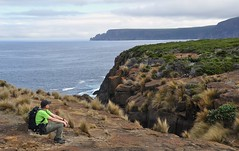 waiting for the blowhole to erupt (davidparratt) Tags: tasmania tasmansea tasmanpeninsula caperaoul maingonbay maingonblowhole