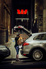 IMG_9808_ed: Big spender (Peter ZZZ) Tags: autumn winter woman girl car lady shopping bag clothing boots designer streetphotography bank jeans porsche wealthy collinsstreet canonef24105mmf4lisusm westpacbank