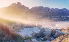 Mornings (FlavioSarescia) Tags: ocean morning travel light sea summer sun sunlight mountain mountains beach nature sunshine sunrise southafrica early sand capetown mornings