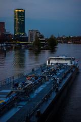 Tanker Gracias und der Westhafentower (S. Ruehlow) Tags: gracias frankfurt main brcke fluss schiff tanker westhafen westhafentower gutleut gutleutviertel mainneckarbrcke tankergracias