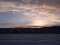 light coming back (tabeacarlotta) Tags: clouds white winter snow sweden polarcircle lake ice frozen forest landscape sunset