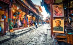 lijiang.4 (Jeremy Langley) Tags: china street mao chairman hdr lijiang oldtownlijiang aurorahdr