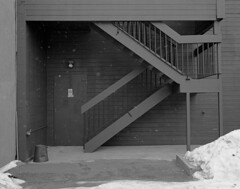 """Connecting Vertical Distances"" (Boulevard of ghosts) Tags: street winter bw 120 film monochrome architecture mediumformat hp5 6x7 making ilford plaubel"