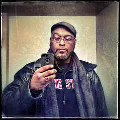 2016.01.06  Day 006 (HTRM2) Tags: red selfportrait man black color male texture college apple leather coral scarf self beard bathroom grey glasses hands grunge gray knit ring jacket cap zipper africanamerican desaturated aged sweatshirt middle ios vignette app 40s iphone selfie 2016 hausa htrmiller2 snapseed iphone5s
