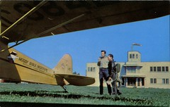 Moody-Wooddale Airport, Chicago, Illinois (SwellMap) Tags: architecture plane vintage advertising design pc airport 60s fifties aviation postcard jet suburbia style kitsch retro nostalgia chrome americana 50s roadside googie populuxe sixties babyboomer consumer coldwar midcentury spaceage jetset jetage atomicage