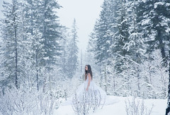 Exhausted (Lichon photography) Tags: winter white snow canada storm fall dress okanagan surreal canadian falling fantasy tired snowing kelowna conceptual blizzard exhusted lichonphotography