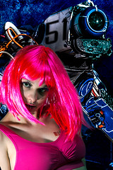 Robot and pink girl (xavier buaillon) Tags: pink blue girl robot nikon cyborg patchwork cyber d800 buaillon