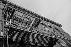 Union City Fire Escape (Daniel Hard) Tags: camera usa architecture lens other newjersey year places jugendstil 2016 unioncitynj 35f14summilux leicammonochromtyp246 022016