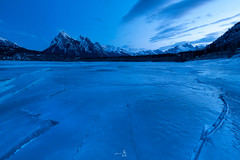 Web2000pxFrozenBlueLandscapeVersion.jpg (gmacfly) Tags: blue winter lake snow mountains nature clouds river frozen nikon focus abraham hour cracks icy curved thick blend excoelis myrrs