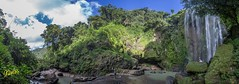 Hulugan Falls Panorama (Kostas Trovas) Tags: travel blue sky people panorama green nature water canon landscape outdoors asia flickr philippines tourist waterfalls laguna runningwater stitched hdr province lr6 500px ef1740f4 instagram kostasimages