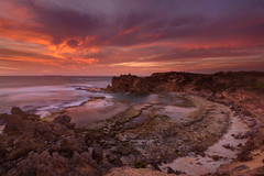 Land that Time Forgot (Rodney Campbell) Tags: ocean sunset sky water clouds rocks au australia victoria cpl portfairy yambuk thecraggs gnd09
