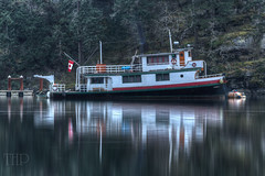 Moored Boat - Early Morning - Maple Bay Marina, Vancouver Island, British Columbia, Canada (Toad Hollow Photography) Tags: wood morning winter light mist canada reflection fog marina boat fishing bc britishcolumbia fineart vancouverisland nautical woodenboat duncan hdr cowichan cowichanvalley maplebay
