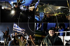 Greek farmers rally against pension cuts and parade their tractos outside of the Greek Parliament in central Athens, Greece (aggelikikoronaiou) Tags: street portrait people urban tractor march europe politics rally crowd protest parliament athens greece farmer society slogan groupshot economy protester crisis greekflag shout greeks reforms austerity greekparliament tractos greekfarmer pensionreforms