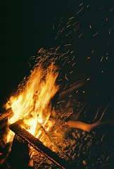 A154868_018 (Rachael.Robinson) Tags: winter light canada color film 35mm island fire flames bonfire fujifilm sparks campobello