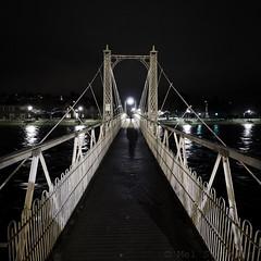 Footbridge (1M092037 E-M1 7mm iso3200 f2.8 1_8s) (Mel Stephens) Tags: 20160209 201602 2016 inverness scotland uk night nighttime olympus omd em1 m43 microfourthirds mirrorless mzuiko 714mm pro structure bridge footbridge square gps q1
