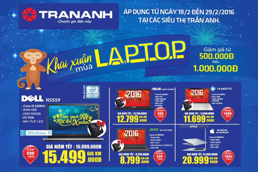 Đón lộc khai xuân: Tặng ngay đến 1000.000 đồng khi mua Laptop