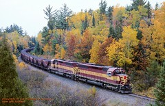 .(SEE & HEAR), WC 7507-7504, Sore-1, Goose Lake, MI. 10-11-2003 (jackdk) Tags: railroad fall train fallcolor railway bn wc locomotive ore taconite ssa dssa burlingtonnorthern wisconsincentral sd45 emd oretrain orejenny emdsd45