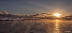 Freezing Fog, Dury Voe (Ivan Reid) Tags: winter sun snow cold ferry clouds sunrise freezingfog nice freezing calm ripples rays beams shetland hendra dury scattered bight whalsay wates fof voes duryvoe