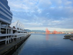 Canada Place and Port of Vancouver (Ruth and Dave) Tags: ocean sea sky weather vancouver clouds port harbour sails cranes inlet burrardinlet canadaplace portofvancouver weatherphotography