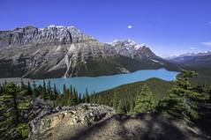 Peyto Lake (ben_leash (Gone in May)) Tags: blue trees mountain lake canada landscape rockies turquoise sony sunny wideangle alberta banff precipice outcropping peytolake peyto canadianrockies