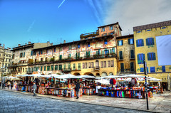 Piazza Erbe_HDR (lorenzo_caramelli) Tags: street blue sky italy beautiful landscape photography photo high nikon strada italia dynamic country edificio best verona piazza range architettura hdr erbe allaperto