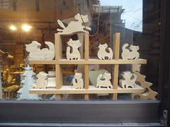 A window full of wooden cats (seikinsou) Tags: wood winter reflection window japan shop cat spring workshop artisan toyonaka