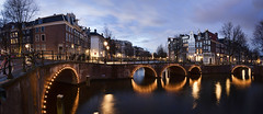 Amsterdam. (alamsterdam) Tags: longexposure sky amsterdam reflections evening bridges
