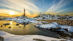 Winter wonderland at the lighthouse (Richard Larssen) Tags: winter light sunset sea sky sun lighthouse snow seascape reflection nature norway landscape norge scenery sony norwegen visit unesco richard scandinavia wonderland magma rogaland anorthosite utno a7ii geopark eigeryfyr egersund visitnorway sonyalpha eigersund dalane larssen eigery eigerya teamsony emount richardlarssen eigeroyfyr eigerylighthouse sel1635z